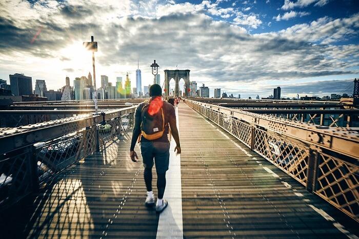 walk on bridge man